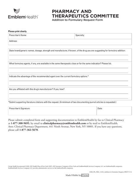 health options prior authorization form free emblemhealth prior rx authorization form pdf