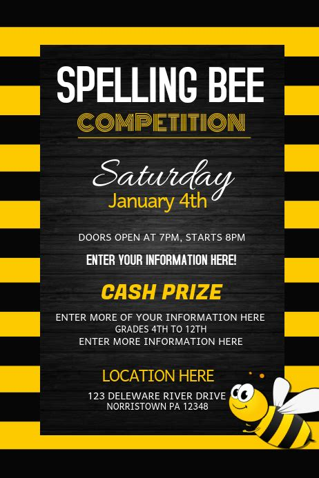 spelling bee competition event flyers template postermywall
