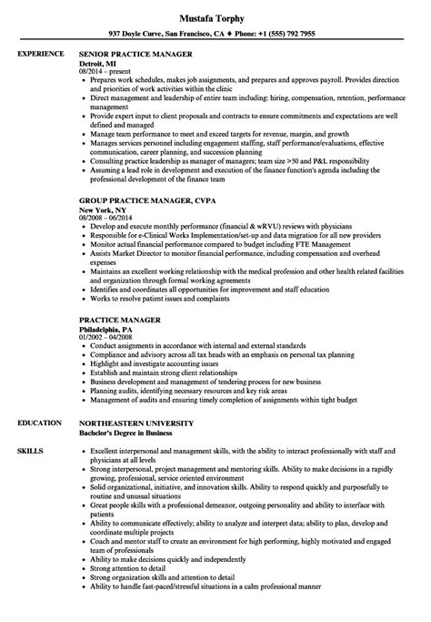 Practice Resume by Practice Manager Resume Sles Velvet