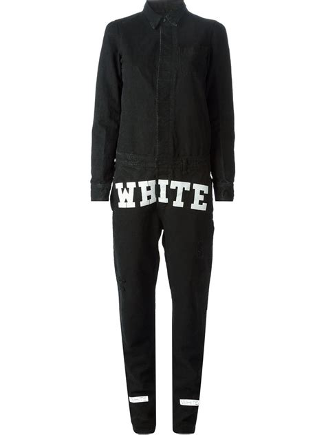 white denim jumpsuit white logo denim jumpsuit in black lyst