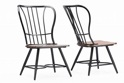 Dining Metal Wood Chair Walnut Industrial Dark