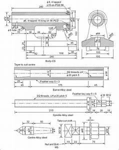 Lathe Machine 2d Drawing