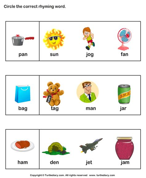 identify rhyming words worksheet turtle diary 389 | identify rhyming words