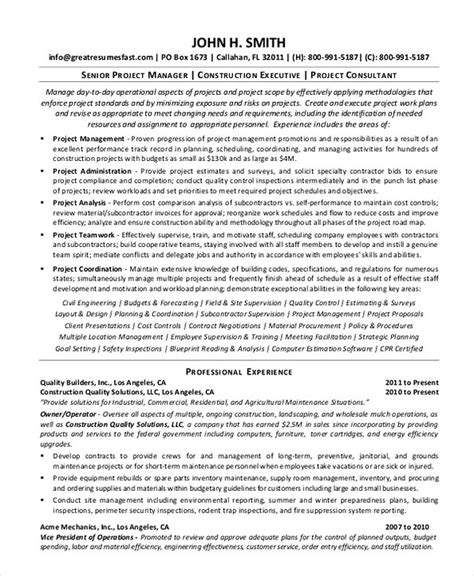 Construction Manager Resume Exles by Construction Project Manager Resume Sle