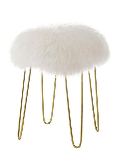 sheepskin puff stool modern furniture brickell collection