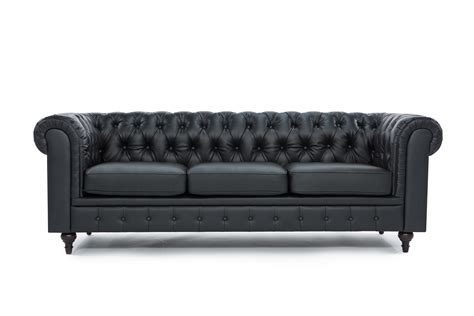 black leather tufted sofa chesterfield modern tufted button black bonded leather sofa ebay
