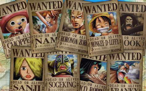 piece straw hat pirates wanted posters  piece