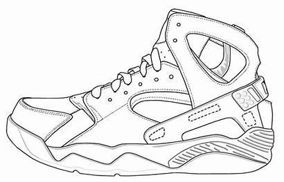 Template Coloring Shoe Shoes Jordan Pages Air