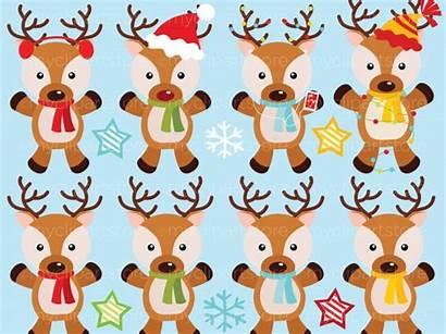 Reindeer Santa Clipart Christmas Santas Vector Clip