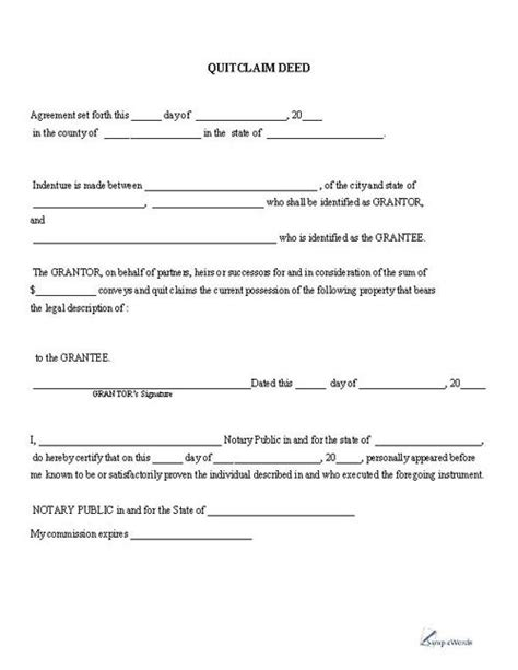 printable quitclaim deed  printable