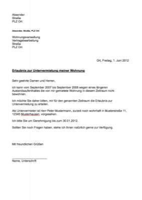 musterbrief erlaubnis untervermietung vorlage muster