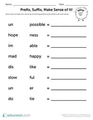 prefix suffix make sense of it worksheet education