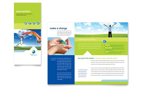 green living recycling tri fold brochure template word