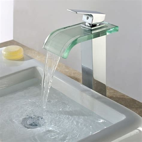 Modern Waterfall Bathroom Sink Tap With Glass Spout(chrome