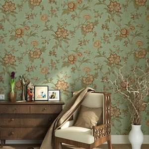 Blooming Wall Vintage Flower Trees Wallpaper Wall Mural ...