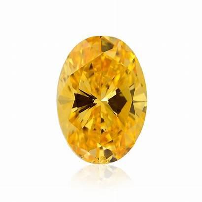 Orange Fancy Vivid Yellow Oval Diamonds Diamond