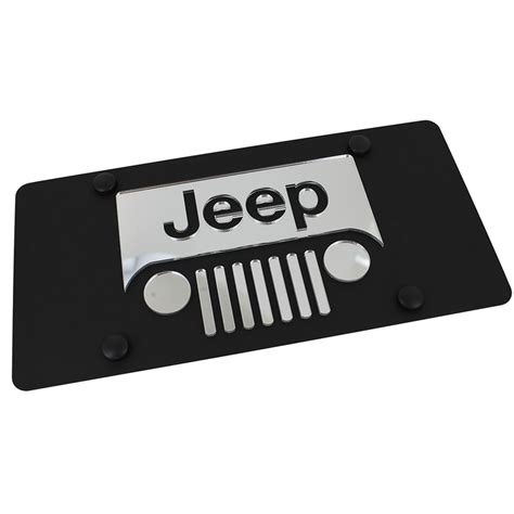 jeep grill logo jeep grill logo on carbon stainless steel license plate