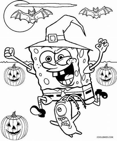 Coloring Spongebob Halloween Printable Cool2bkids