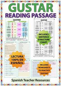 Gustar Verb Chart Gustar Spanish Reading Passage And Worksheets By Woodward