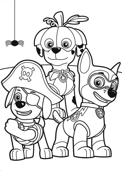 paw patrol coloring pages zuma marshall  chase