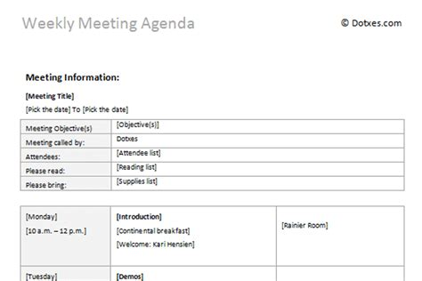 Weekly Meeting Calendar Template by Meeting Agenda Templates Dotxes