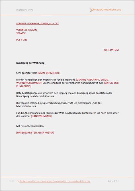 Wie Kann Mieter Kündigen by 34 Angenehm K 252 Ndigungsschreiben Vorlage Wohnung Mieter