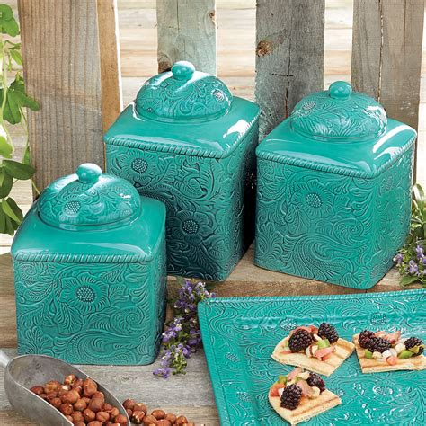 turquoise kitchen canisters turquoise canister set 3 pcs