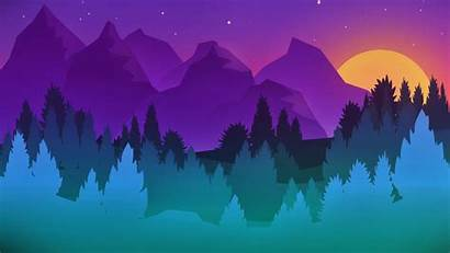 Minimalist Colorful Mountains Trees Stars Artwork Wallpapers