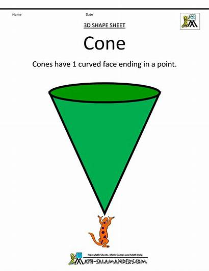 Shapes Cone Cones Math Clipart Printable Cubes
