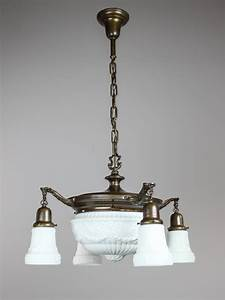 Antique pan light fixture with milk glass