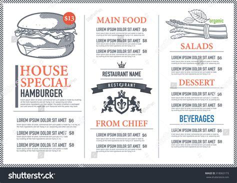hipster restaurant menu design stock vector