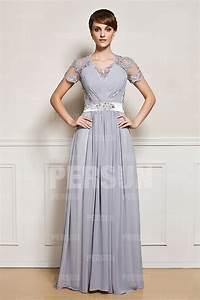 Robe Mariage Dentelle : robe de soir e mariage grise encolure en dentelle ~ Mglfilm.com Idées de Décoration