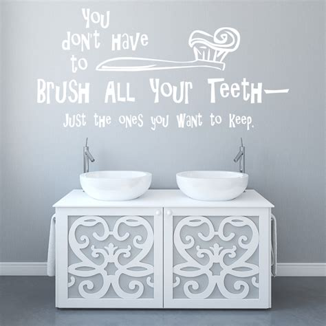 brush  teeth wall sticker funny kids quote wall decal