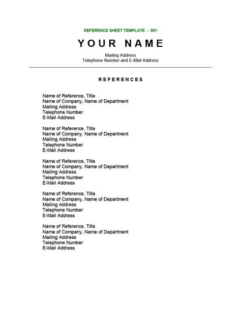 Reference List Template 40 Professional Reference Page Sheet Templates