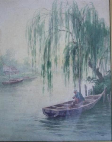 Willow Boat Painting by Bunya Ioki Bunsai Quot River Boat Willow Quot Watercolour