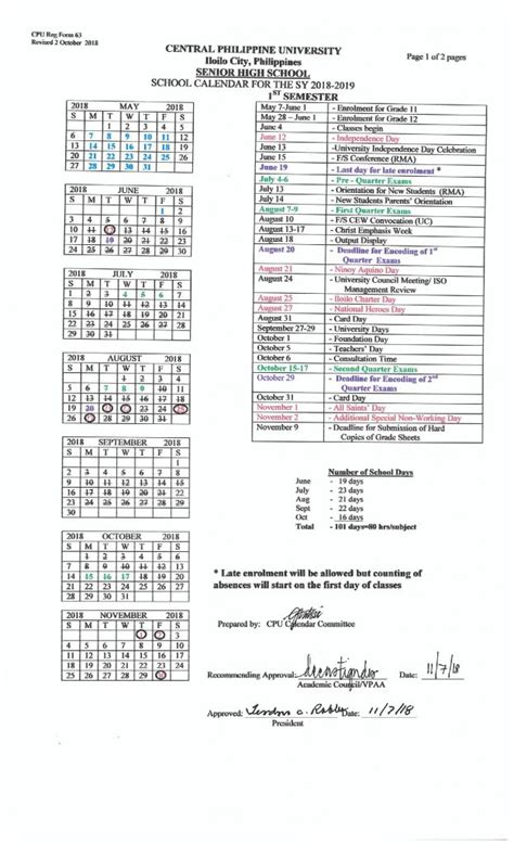 senior high school calendar central philippine university