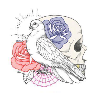 white dove  skull  red  blue rose buds tattoo design tattooimagesbiz