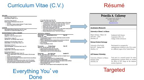Cv Vs Resume For Grad School by Curriculum Vitae And Resume Pre Health