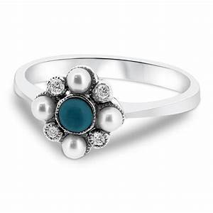 9ct white gold turquoise pearl and diamond cluster With pearl and diamond wedding rings