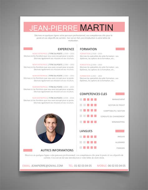 Exemple Cv 2016 Word by Model Cv Word 2016 Cv Exemple Gratuit Word Jaoloron