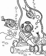 Coloring Diver Children Topcoloringpages Fish sketch template