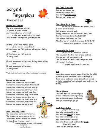 songs and fingerplays theme holidays preschool 723 | fingerplays fall preschool