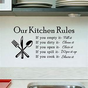 Kitchen rules living room kitchen vinyl wall stickers for for Kitchen wall sayings vinyl lettering