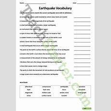 Earthquake  Vocabulary Worksheet Teaching Resource  Teach Starter