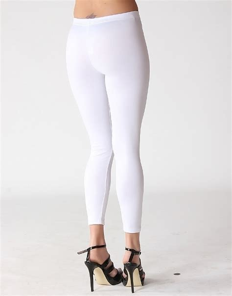 Womens wetlook pants in white