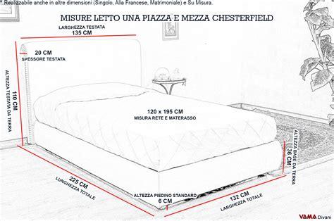 Misure Letto Ad Una Piazza E Mezza by Letto Chesterfield Una Piazza E Mezzo Senza Capitonn 233