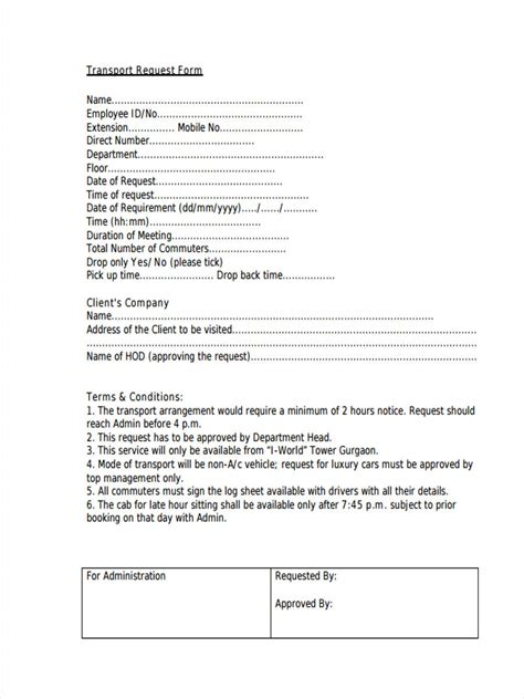 sample employee request forms   ms word