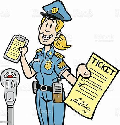 Ticket Cartoon Maid Meter Handing Parking Clipart