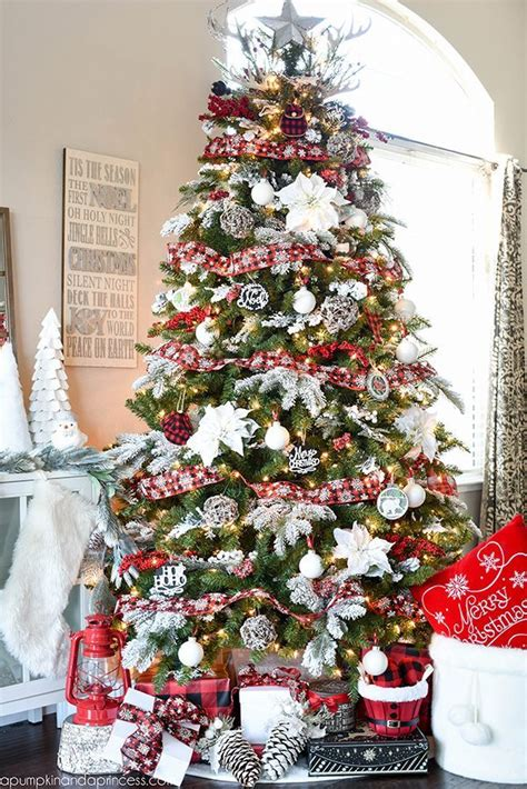christmas tree decorating ideas with plaid ribbon plaid tree ideas refresh restyle