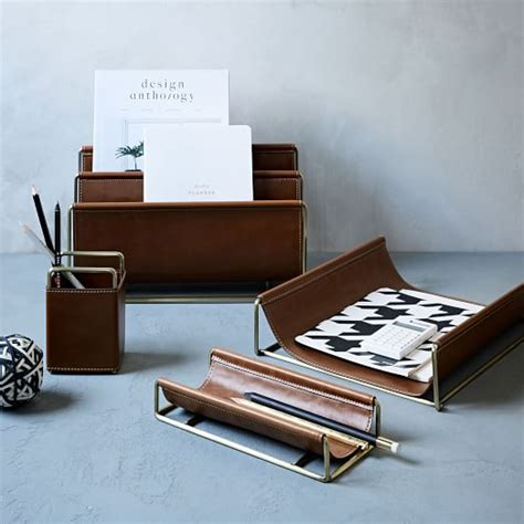 western office desk accessories faux leather brass office accessories west elm